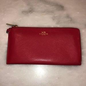Coach Dark Pink Red Large Clutch Wallet